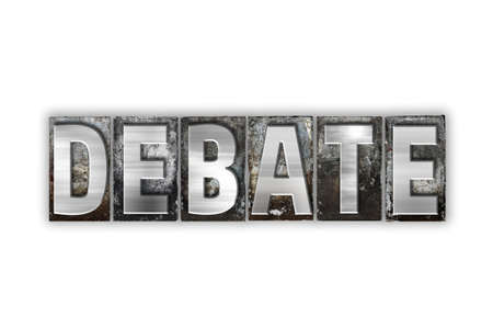 rebuttal: The word Debate written in vintage metal letterpress type isolated on a white background. Stock Photo