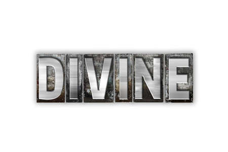 The word Divine written in vintage metal letterpress type isolated on a white background.