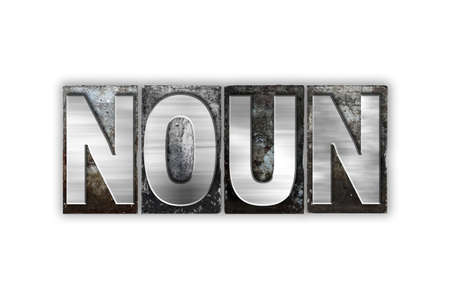noun: The word Noun written in vintage metal letterpress type isolated on a white background. Stock Photo