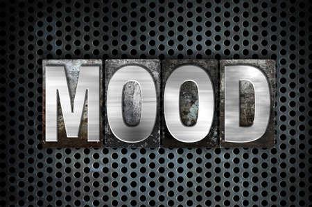 mood moody: The word Mood written in vintage metal letterpress type on a black industrial grid background. Stock Photo