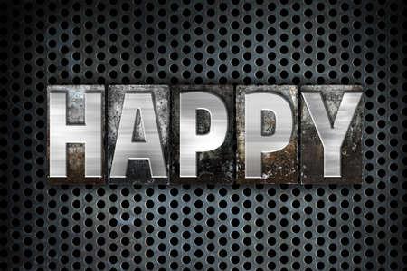 howl: The word Happy written in vintage metal letterpress type on a black industrial grid background.