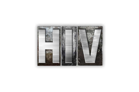 The word HIV written in vintage metal letterpress type isolated on a white background.