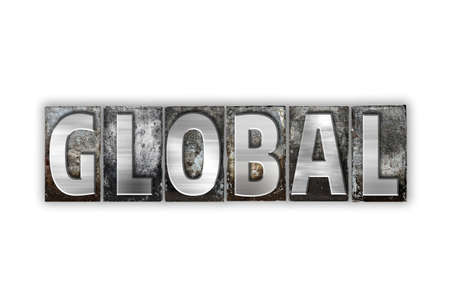 The word Global written in vintage metal letterpress type isolated on a white background.