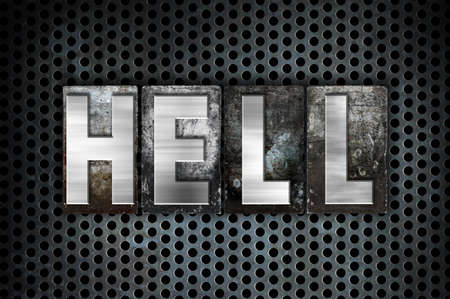 limbo: The word Hell written in vintage metal letterpress type on a black industrial grid background. Stock Photo