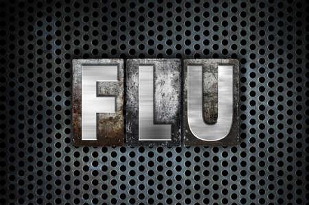 flu shots: The word Flu written in vintage metal letterpress type on a black industrial grid background.