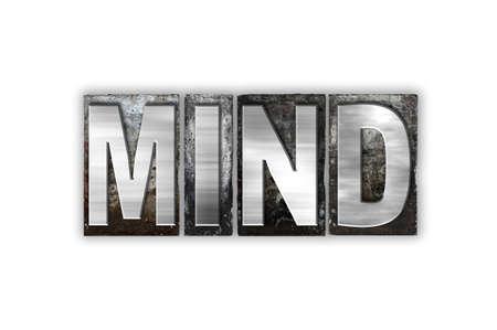"""psyche: La palabra """"mente"""" escrito en el tipo de cosecha tipograf�a de metal aislado en un fondo blanco. Foto de archivo"""