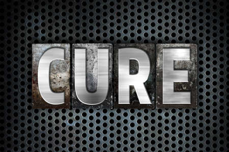 clinical trial: The word Cure written in vintage metal letterpress type on a black industrial grid background.