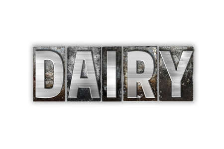 lactose intolerant: The word Dairy written in vintage metal letterpress type isolated on a white background. Stock Photo