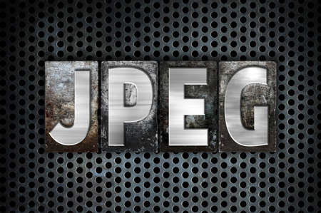 jpeg: The word Jpeg written in vintage metal letterpress type on a black industrial grid background. Stock Photo