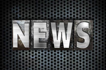 The word News written in vintage metal letterpress type on a black industrial grid background. 版權商用圖片