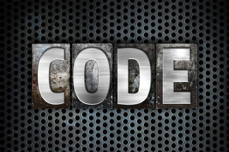 secret code: The word Code written in vintage metal letterpress type on a black industrial grid background.