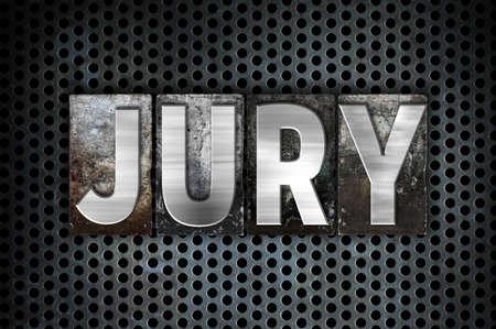 sentence typescript: The word Jury written in vintage metal letterpress type on a black industrial grid background.