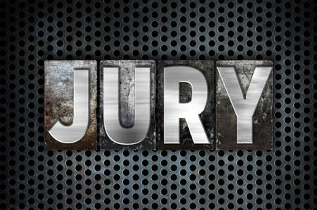 testimony: The word Jury written in vintage metal letterpress type on a black industrial grid background.