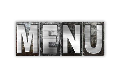 """Het woord """"Menu"""" geschreven in vintage metalen boekdruk type geïsoleerd op een witte achtergrond. Stockfoto"""