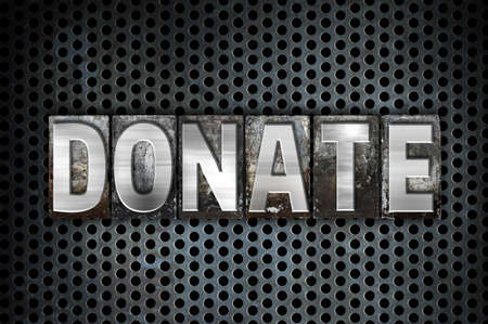 organ donation: The word Donate written in vintage metal letterpress type on a black industrial grid background.