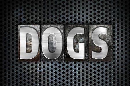 k 9: The word Dogs written in vintage metal letterpress type on a black industrial grid background.