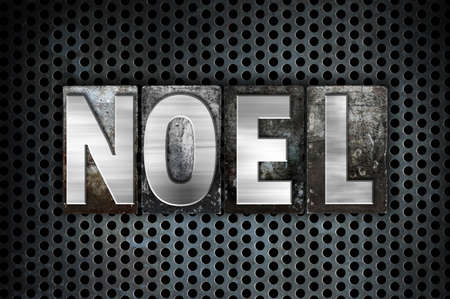 hymn: The word Noel written in vintage metal letterpress type on a black industrial grid background. Stock Photo
