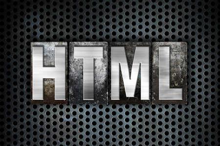 metal grid: The word HTML written in vintage metal letterpress type on a black industrial grid background.