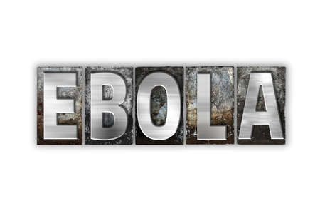pandemic: The word Ebola written in vintage metal letterpress type isolated on a white background.