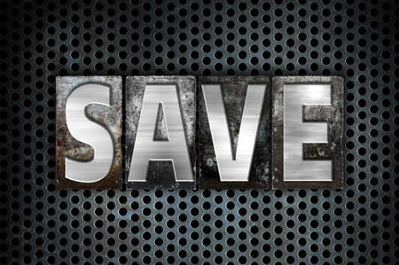 The word Save written in vintage metal letterpress type on a black industrial grid background.