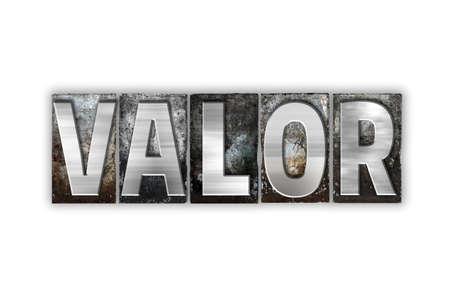 The word Valor written in vintage metal letterpress type isolated on a white background. Stock Photo