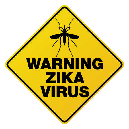 pandemic: A yellow street sign warning about the Zika Virus and mosquitoes. Vector EPS 10 available.