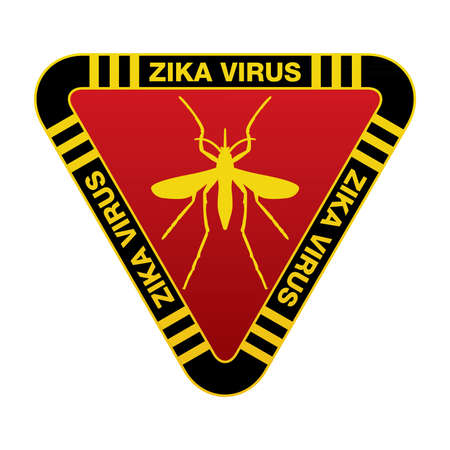 virus: A red yellow and black sign warning against mosquitoes and the Zika Virus. Vector EPS 10 available.