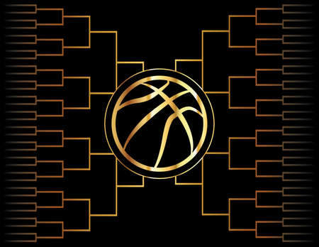 tournament bracket: A golden basketball icon over a gold colored tournament bracket. Vector EPS 10 available.