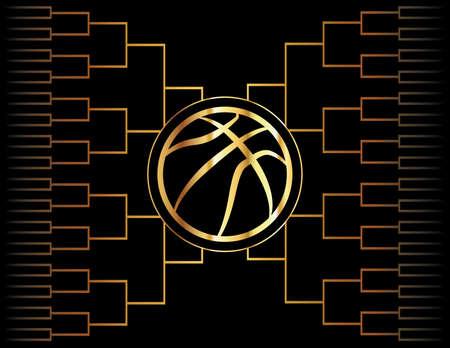 Een gouden basketbal pictogram over een goudkleurige toernooi beugel. Vector EPS-10 beschikbaar. Stock Illustratie