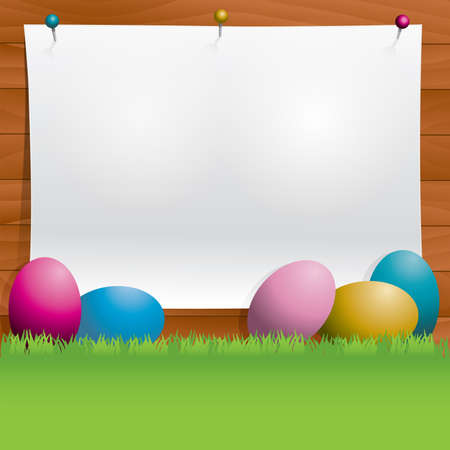 wooden vector mesh: An Easter background with eggs, grass, wooden wall, and paper for copy. Vector EPS 10 available. EPS file contains transparencies and gradient mesh.