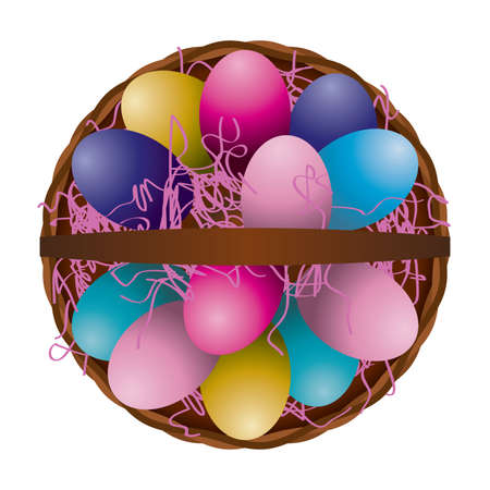 photo realism: A unique aerial view of a full easter egg basket with colorful pink grass and decorated eggs. Vector EPS 10 available. Illustration