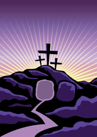 golgotha: A Christian Easter background with empty tomb and crosses. Vector EPS 10 available.