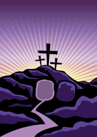 resurrección: Un fondo Cristiano Pascua con la tumba vacía y cruces. Vectoriales EPS 10 disponible. Vectores