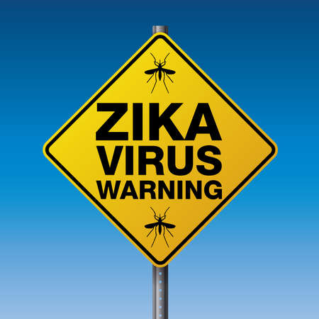 virus: A yellow street warning sign for the Zika Virus. Vector EPS 10 available.