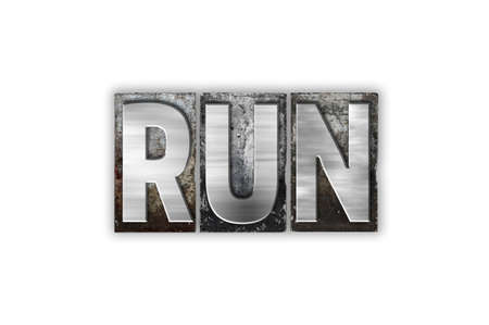 stride: The word Run written in vintage metal letterpress type isolated on a white background.