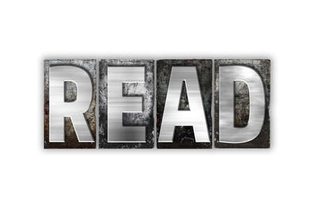 ereader: The word Read written in vintage metal letterpress type isolated on a white background.