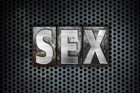The word Sex written in vintage metal letterpress type on a black industrial grid background.