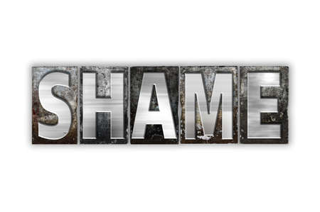 disgrace: The word Shame written in vintage metal letterpress type isolated on a white background. Stock Photo