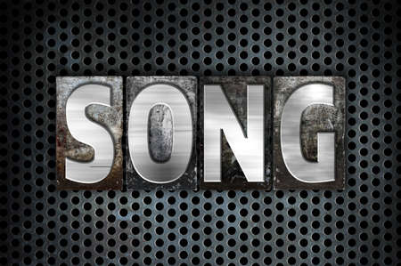 The word Song written in vintage metal letterpress type on a black industrial grid background. Stock Photo