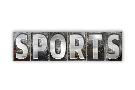 athletic type: The word Sports written in vintage metal letterpress type isolated on a white background. Stock Photo