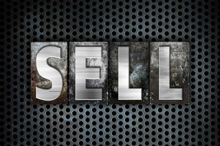 selling service: The word Sell written in vintage metal letterpress type on a black industrial grid background.