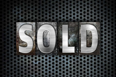 selling service: The word Sold written in vintage metal letterpress type on a black industrial grid background.