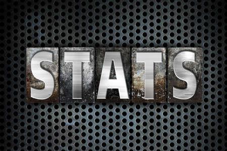 The word Stats written in vintage metal letterpress type on a black industrial grid background.