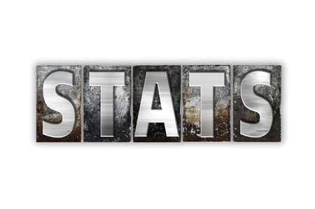 The word Stats written in vintage metal letterpress type isolated on a white background. Stock Photo