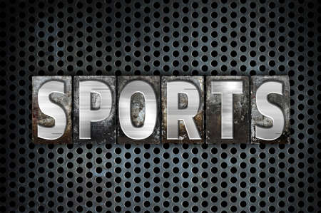 athletic type: The word Sports written in vintage metal letterpress type on a black industrial grid background.