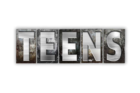 youthfulness: The word Teens written in vintage metal letterpress type isolated on a white background.
