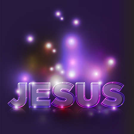 savior: The name JESUS illustrated in glowing lines on an abstract dark background.