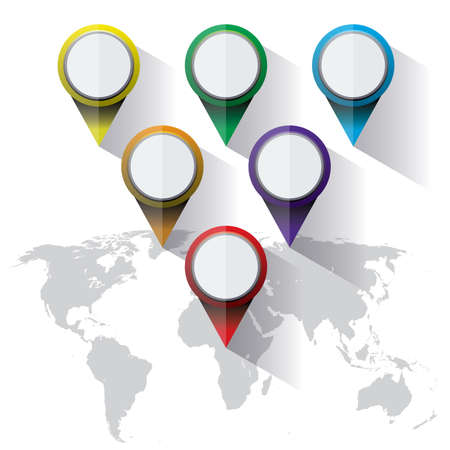 A set of colorful world map markers in flat design.