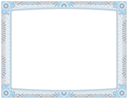 stock certificate: An ornate blue and grey lined certificate award of achievement.