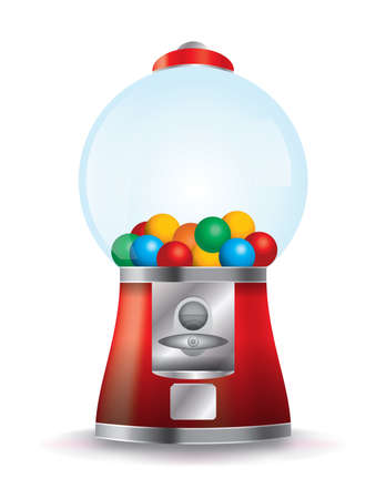 photo realism: A bubble gum machine on a white background. Illustration